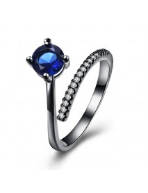 INALIS Fashion Zircon Gun Black Plated Finger Ring Jewelry Gift for Women