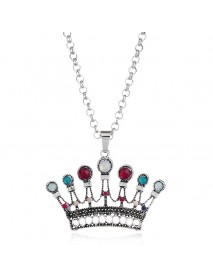 Ethnic Antique Silver Crown Pendant Necklace Trendy Colorful Gemstone Long Chain Necklaces for Wome