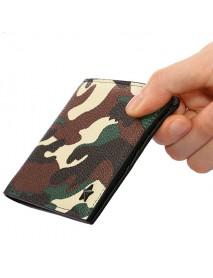 1 cm Thinness Men PU Leather Camo Short Wallet Minimalist Vintage Card Holder