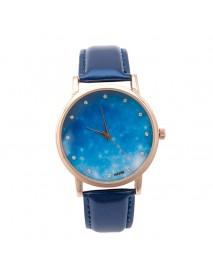MILIER 8288 Starry Night Sky Fashion Leather Strap Simple Women Wrist Watch