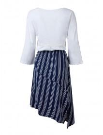 Casual Women Crochet Stripe Patchwork High Low Slit Dress