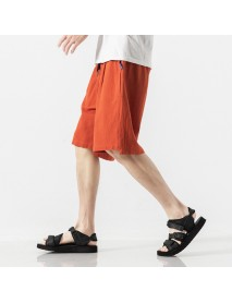 Chinese Style Cotton And Linen Loose Shorts Men's Solid Color Casual Pants Loose Large Size Five Pants Beach Pants