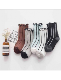 5 Pairs Kids Cotton Thickened Socks Lace Terry Crew Vertical Stripes Boneless Socks