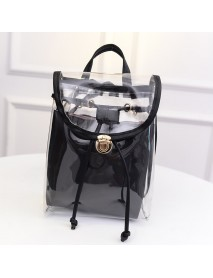 2 in 1 Clear Girl Transparent Fashison Backpack Satchel Women Jelly Beach Tote School