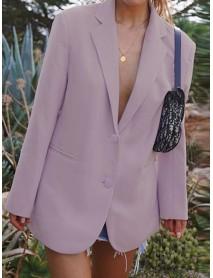 Women Commute Suit Casual Turn-down Collar Long Sleeve Work Blazers