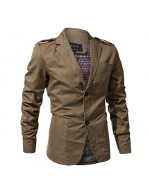 Epaulet Military Single Breasted Spring Autumn Cotton Casual Blazer Jackets for Men