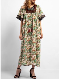 Boho Floral Print Short Sleeve Embroidery Long Dress