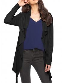 Casual Women Long Sleeve Lapel Irregular Hem Cardigans with Belt