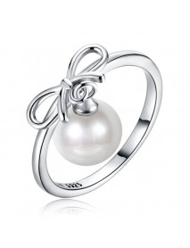 925 Sterling Silver Ring Bowknot Shape Dangle Charm Pearl Ring Fashion Silver Ring for Women