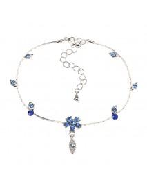 JASSY Fine Anklet Platinum Plated Capri Blue Rhinestone Flower Leaf Pendant Jewelry for Women