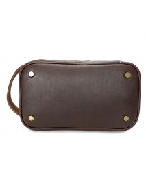 Ekphero Men Genuine Leather Vintage Cosmetic Bag Solid Large Capacity Travel Pouch Wash Bag