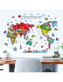Cartoon Animals World Map Wall Stickers for Kids Room Decorations Safari Mural Art Zoo