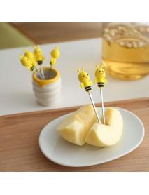 6 Pcs Silicone Bee Fruit Forks Mini Cartoon Animal Stainless Steel Salad Dessert Fruit Fork Picks