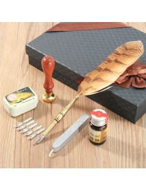 Vintage European Quill Stamp Feather Dip Pen Set Fountain Pen Writing Ink Luxury Stationery