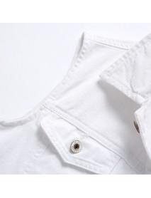 Casual Holes Pocket White Denim Vest For Men
