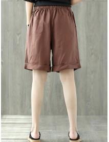 Pure Color Elastic Waist Loose Cotton Linen Wide Leg Shorts