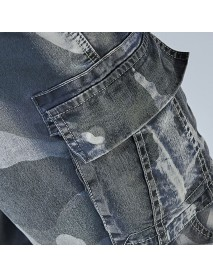 Casual Camo Multi Pockets Jogger Pants Short Jeans