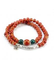 Ethnic Handmade Beaded Bracelet Flower Ceramic Multilayer Bracelets Vintage Jewelry for Women