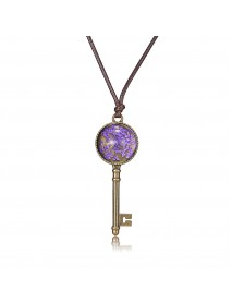 Bohemian Gypsophila Metal Key Pendant Necklace Vintage delicacy Gift for Women