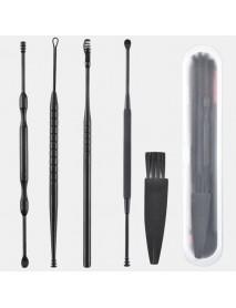 5Pcs/set Ear Wax Pickers Stainless Steel Earpick Wax Remover Curette Ear Spoon Pick Cleaner Ear Cleaner Spoon Care Ear Clean Tool