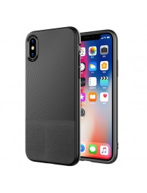 Anti-fingerprint Leather Pattern Soft TPU Protective Case for iPhone X