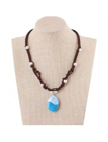 Bohemian Luminous Glowing Drop Pendant Necklace Leather Chain Pearl Necklace for Women Gift