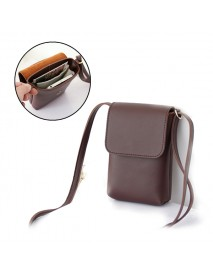 Flip Cover Magnetic Buckle PU Leather Women Messenger Bag Phone Wallet for Phone Under 6 inches