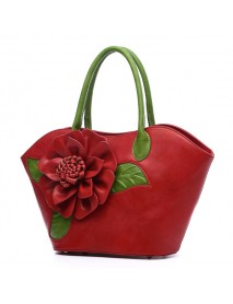 Brenice National Style Fancy With Rose Decoration Faux Leather Handbag For Women