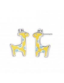 925 Sterling Silver Yellow Giraffe Stud Earrings Sweet Animal Cute Earring for Women Gift