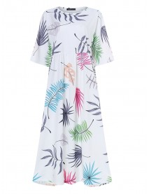 Bohemian 3/4 Sleeve O-neck Floral Print Casual Maxi Dress
