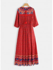 Bohemian Floral Print Long Sleeves Summer Maxi Dress