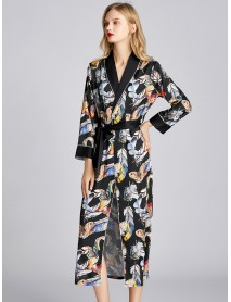 Black Satin Longlined Printed Long Sleeve Casual Bathrobe Nightgown
