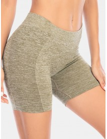 Women Solid Color Hip Lifting Yoga Running Seamless Shorts