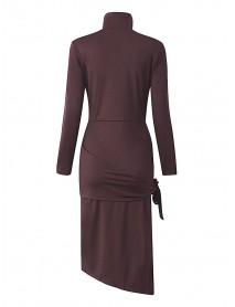Sexy High Split Long Sleeve Irregular Bodycon Cocktail Women Dress