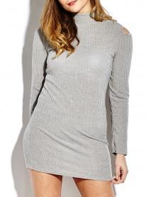 Sexy Off Shoulder Women Knit Bodycon Mini Dress