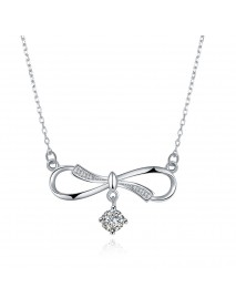 925 Sterling Silver Necklace Bowknot Zicon Drop Pendant Infinity Knot Necklaces Jewelry for Women