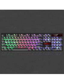 104 Keys Retro Round Keycaps Rainbow Three-color Backlight Gaming Keyboard