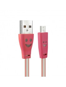 1.0M USB 2.0 to Micro USB Smile LED Charging Data Line for Tablet Cell Phone