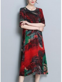 Floral Print O-neck Half Sleeve Dress