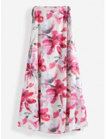 Summer Floral Print Beach Holiday Tank Tops Long A-line Skirts
