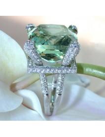 Elegant Green Gem Zircon Ring Wedding Crystal Silver Color Rings Trendy Jewelry for Women