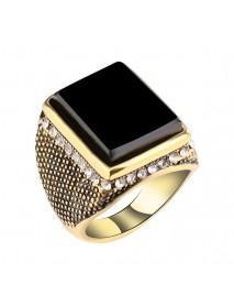 20mm Punk Resin Black Color Geometry Rhinestone Ancient Gold Finger Ring for Men