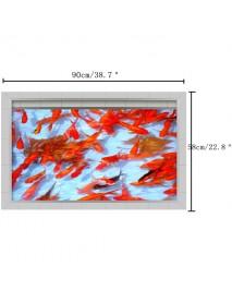 PAG 3D Waterproof Goldfish Pond Pattern Bathroom Anti Slip Floor Sticker Washable Shower Room Decor