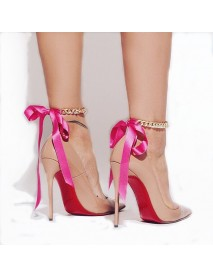 1 Pc Fashion Anklet Sexy Barefoot Sandals Thick Gold Chains Ribbon Bracelet Anklet for Women