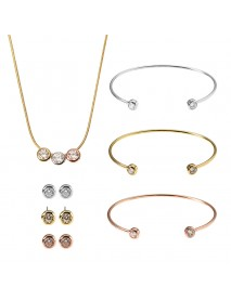 JASSY Women Jewelry Set 3 Color Simple Gemstone 18K Gold Plated Chain Necklace 3 Bracelet 3 Earring
