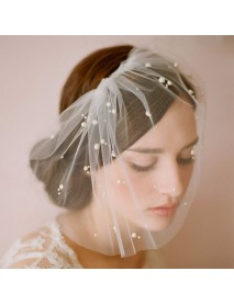 Bride Half Pearl Veil Handmade Wedding Soft Net Hair Accessories