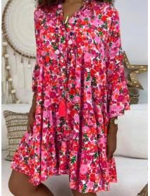 Autumn Floral Print V-neck Loose Casual Shirt Mini Dress