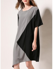 Plus Size Stripe Patchwork Short Sleeve Women Mini Dress