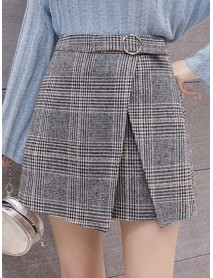 High Waist Plaid A-line Thick Woolen Skirts