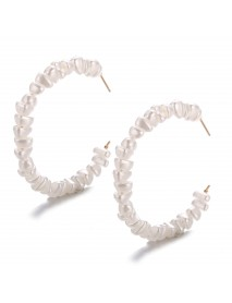 Big Circle Earrings Retro Minimalist Exaggerated Personality Winding Artificial Pearl Earring
